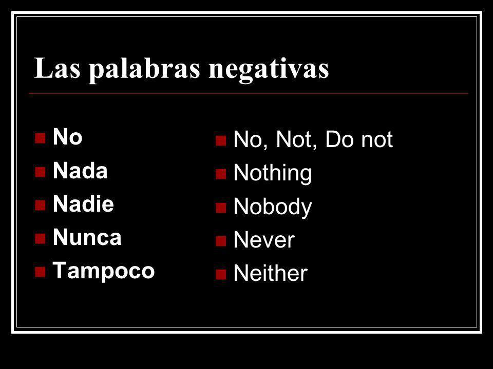 Las palabras negativas