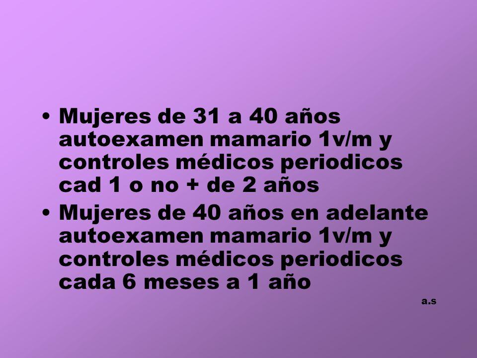 Mujeres de 31 a 40 años autoexamen mamario 1v/m y controles médicos periodicos cad 1 o no + de 2 años