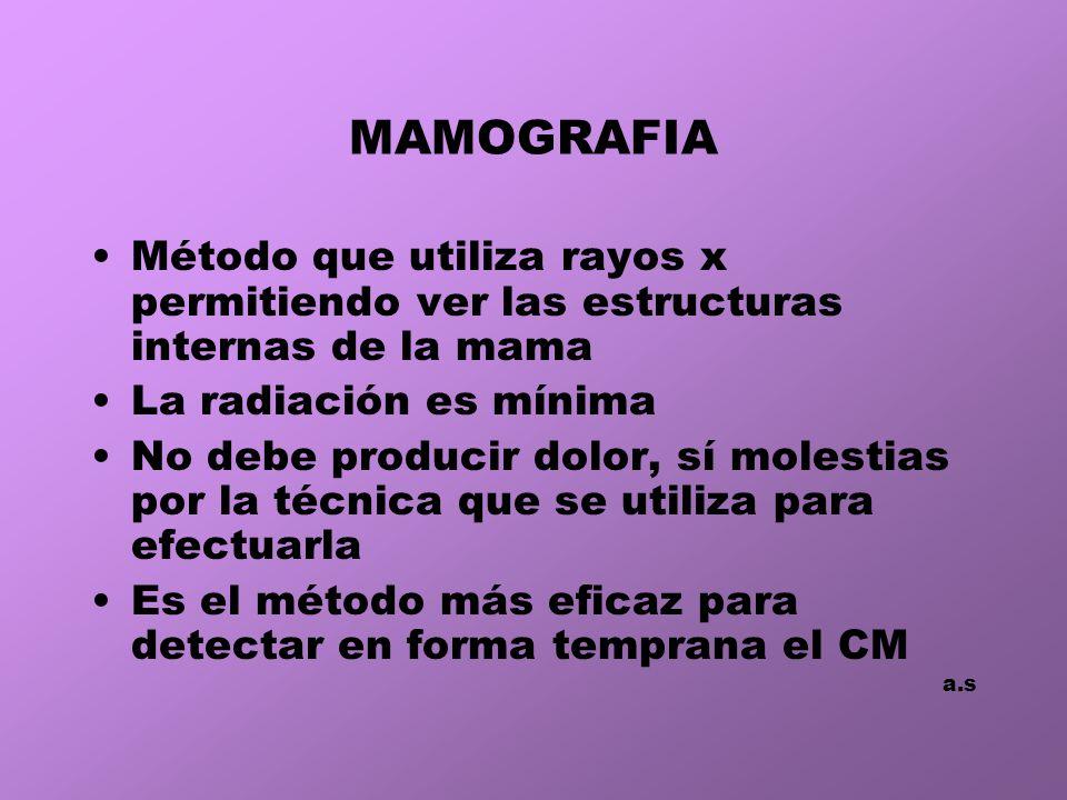 MAMOGRAFIA Método que utiliza rayos x permitiendo ver las estructuras internas de la mama. La radiación es mínima.