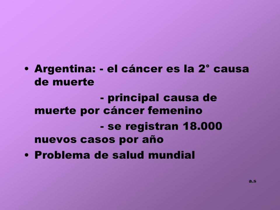 Argentina: - el cáncer es la 2° causa de muerte
