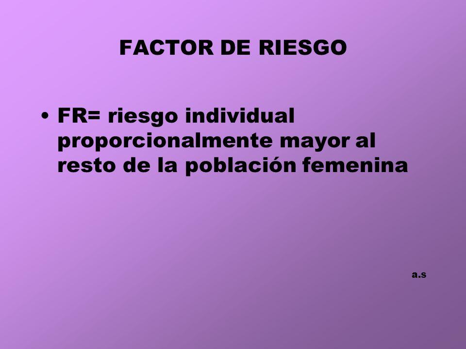 FACTOR DE RIESGO FR= riesgo individual proporcionalmente mayor al resto de la población femenina.