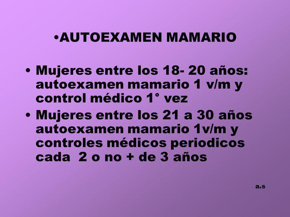 AUTOEXAMEN MAMARIO Mujeres entre los 18- 20 años: autoexamen mamario 1 v/m y control médico 1° vez.