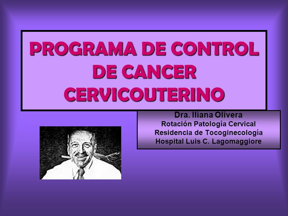 PROGRAMA DE CONTROL DE CANCER CERVICOUTERINO