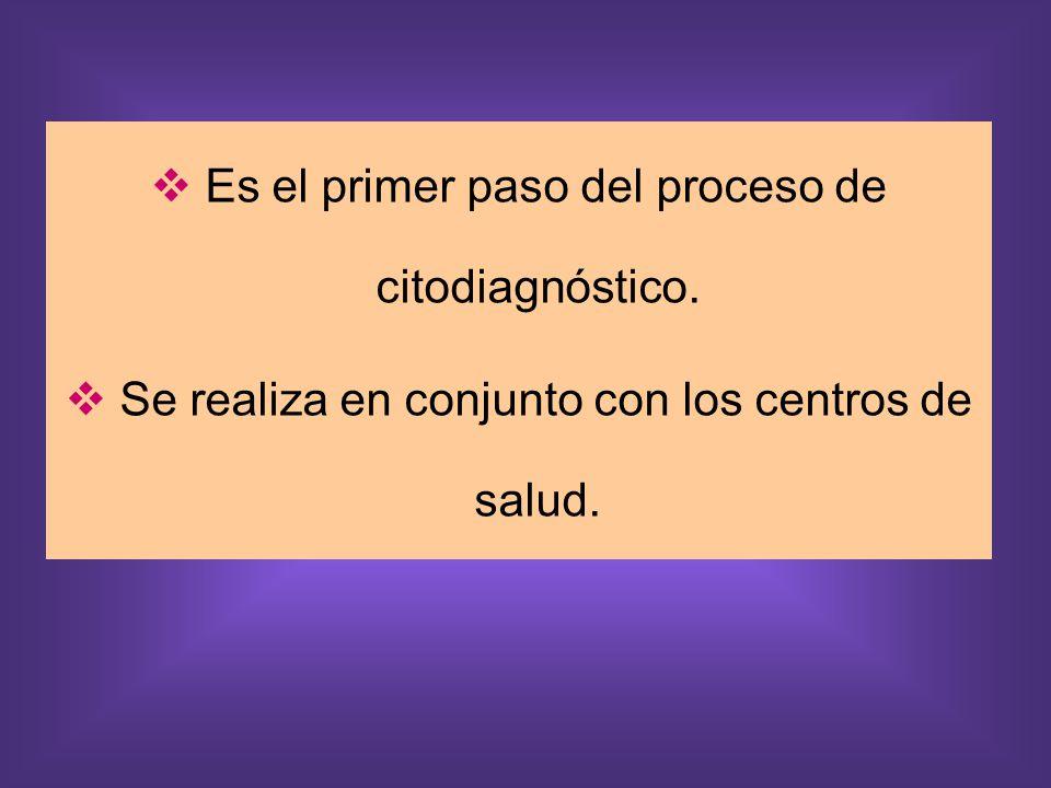 Es el primer paso del proceso de citodiagnóstico.