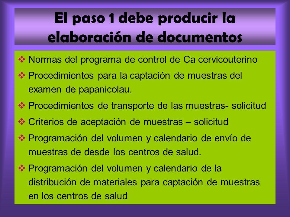 El paso 1 debe producir la elaboración de documentos