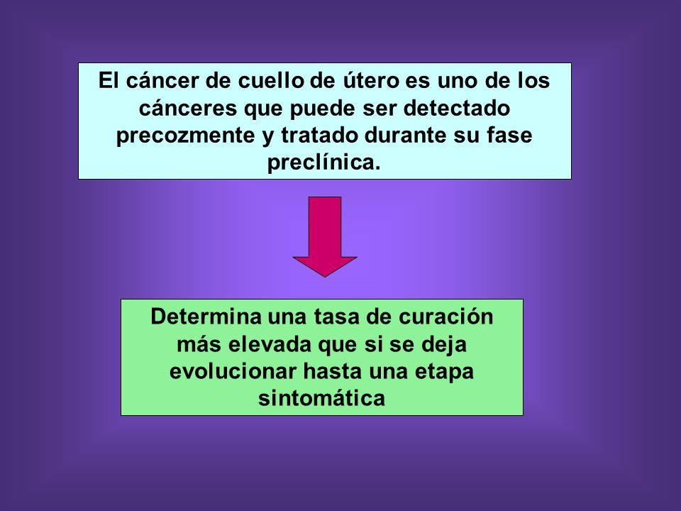 El cáncer de cuello de útero es uno de los cánceres que puede ser detectado precozmente y tratado durante su fase preclínica.