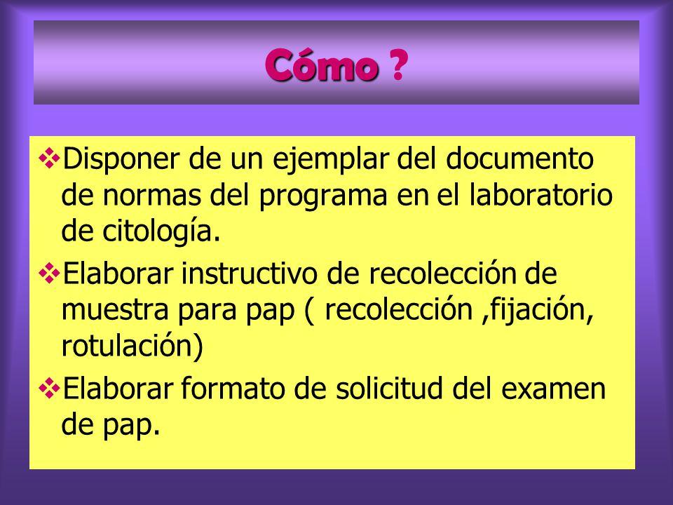 Cómo Disponer de un ejemplar del documento de normas del programa en el laboratorio de citología.
