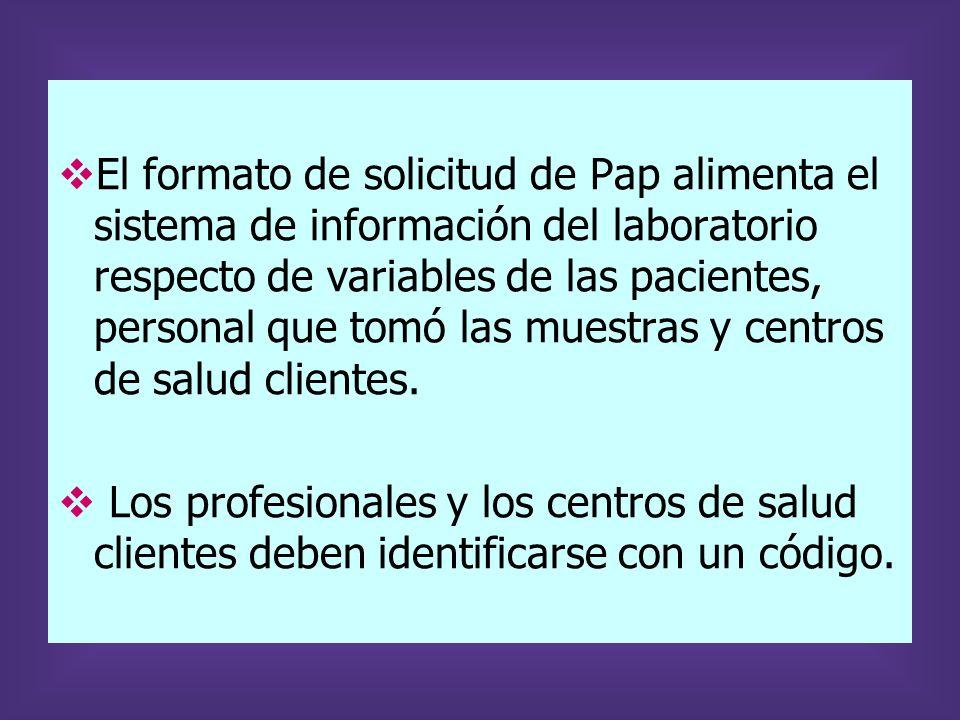 El formato de solicitud de Pap alimenta el sistema de información del laboratorio respecto de variables de las pacientes, personal que tomó las muestras y centros de salud clientes.