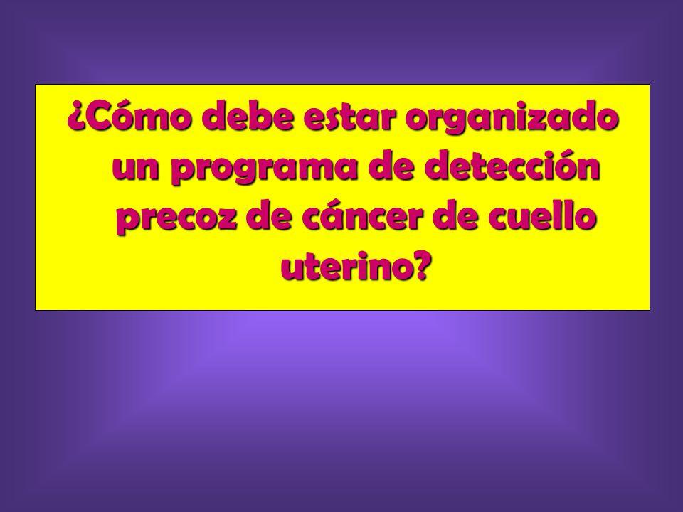 ¿Cómo debe estar organizado un programa de detección precoz de cáncer de cuello uterino
