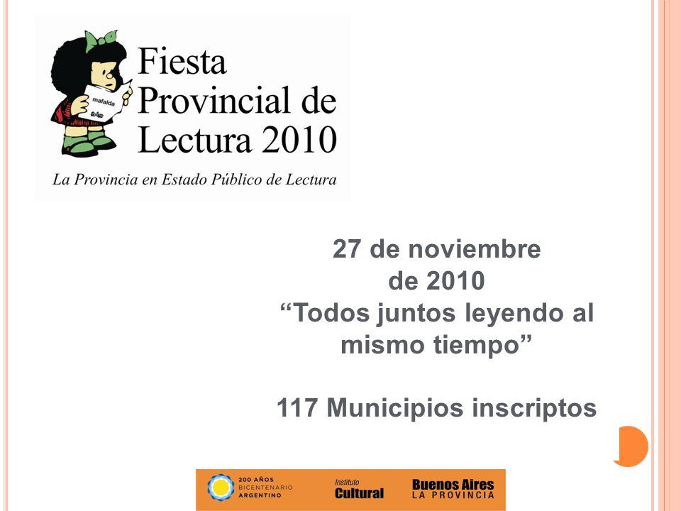 Todos juntos leyendo al mismo tiempo 117 Municipios inscriptos