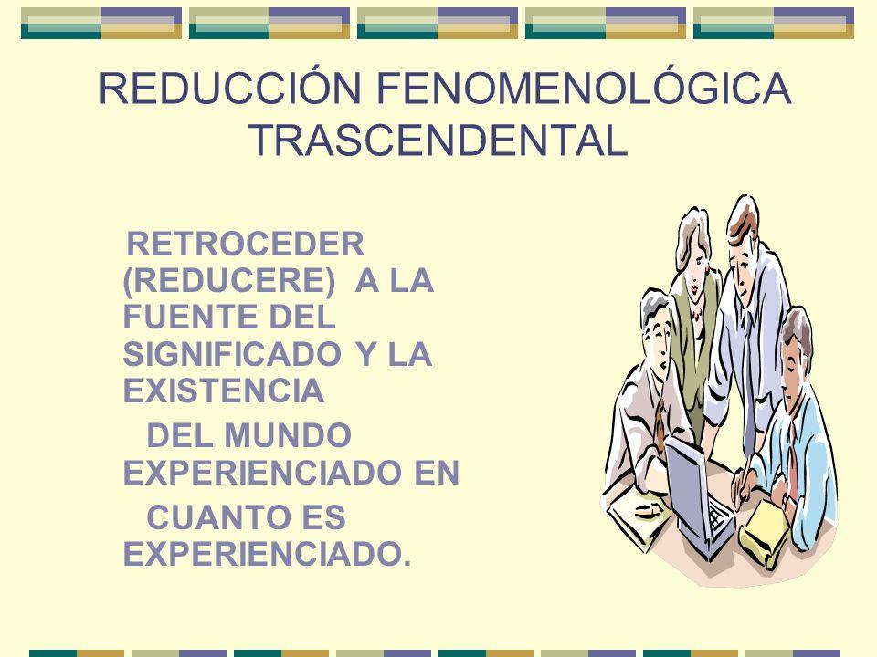 REDUCCIÓN FENOMENOLÓGICA TRASCENDENTAL