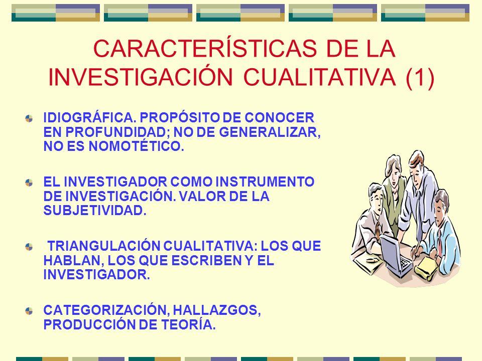 CARACTERÍSTICAS DE LA INVESTIGACIÓN CUALITATIVA (1)