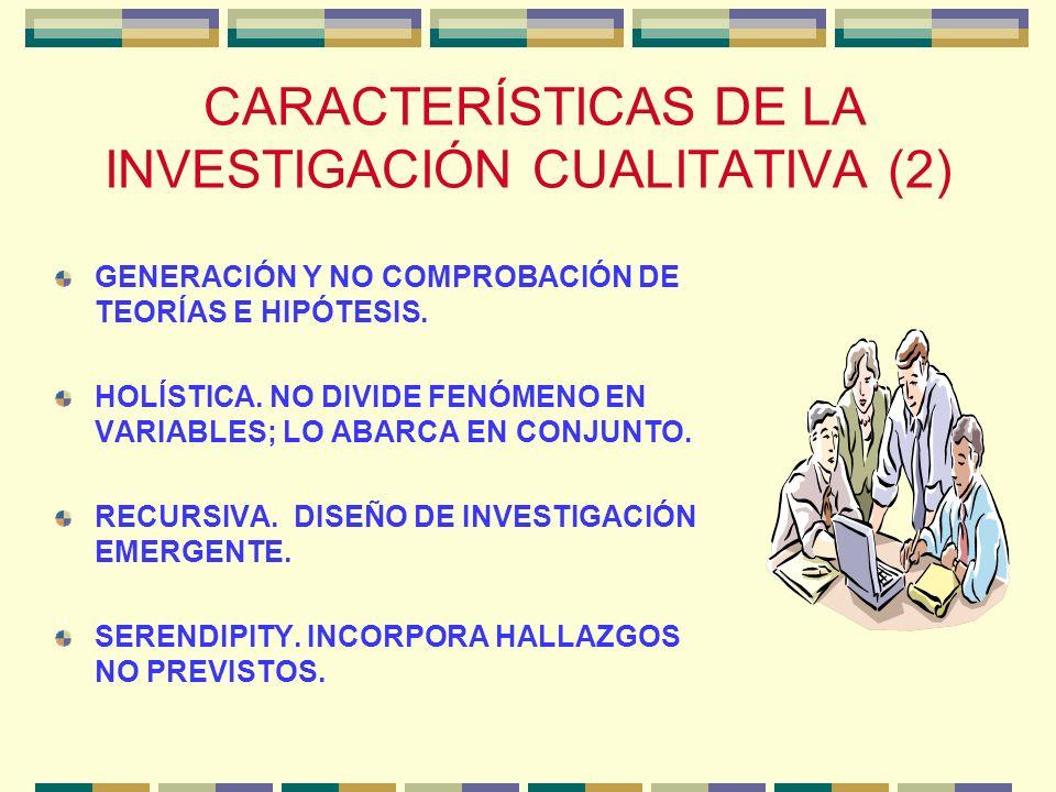 CARACTERÍSTICAS DE LA INVESTIGACIÓN CUALITATIVA (2)