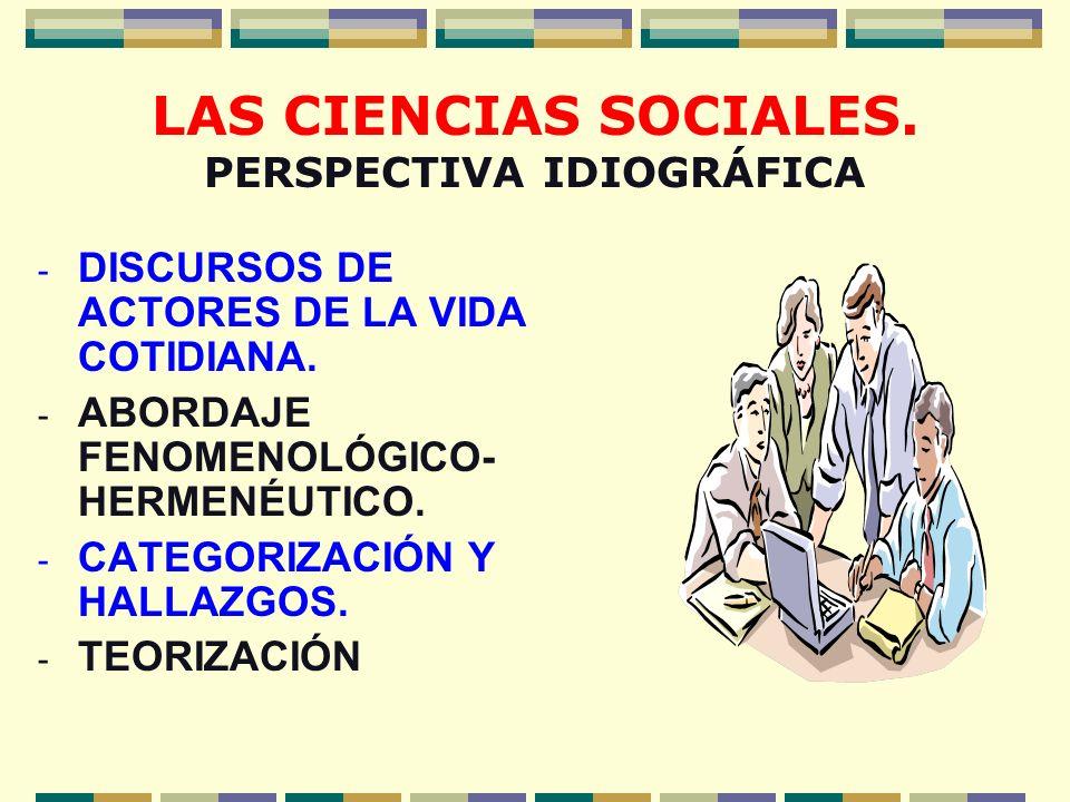LAS CIENCIAS SOCIALES. PERSPECTIVA IDIOGRÁFICA