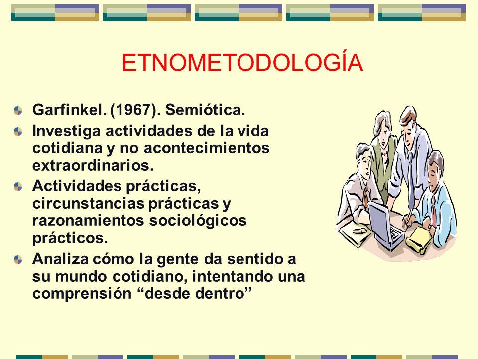 ETNOMETODOLOGÍA Garfinkel. (1967). Semiótica.