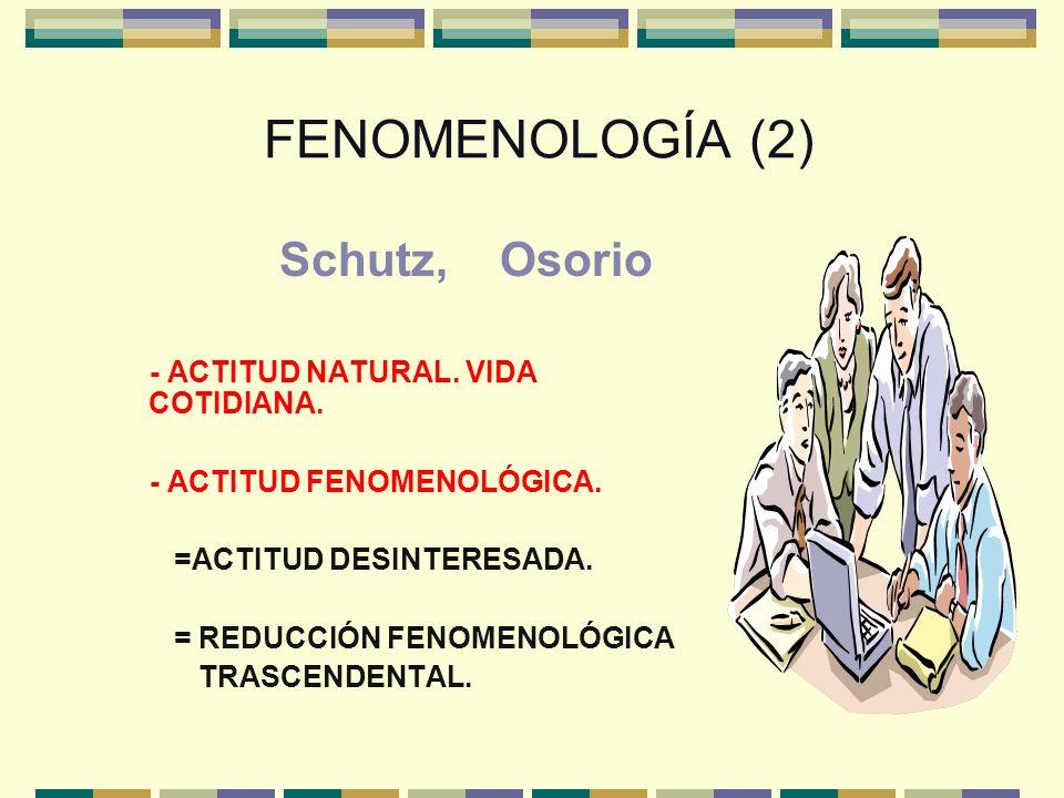 FENOMENOLOGÍA (2) Schutz, Osorio - ACTITUD NATURAL. VIDA COTIDIANA.