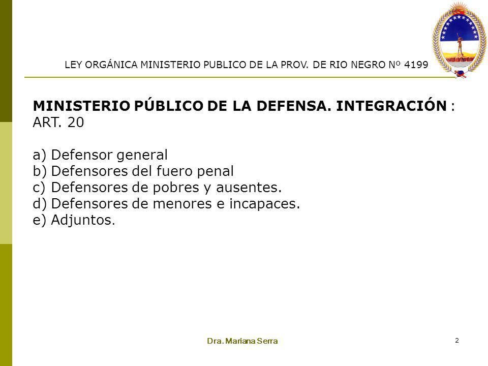 MINISTERIO PÚBLICO DE LA DEFENSA. INTEGRACIÓN : ART. 20