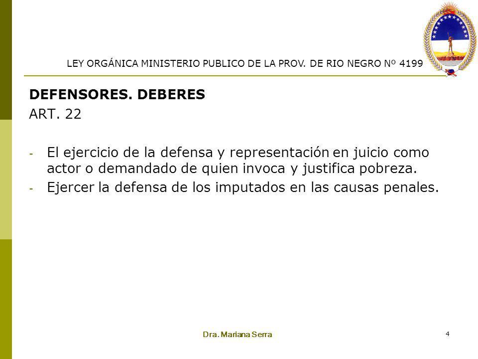 Ejercer la defensa de los imputados en las causas penales.