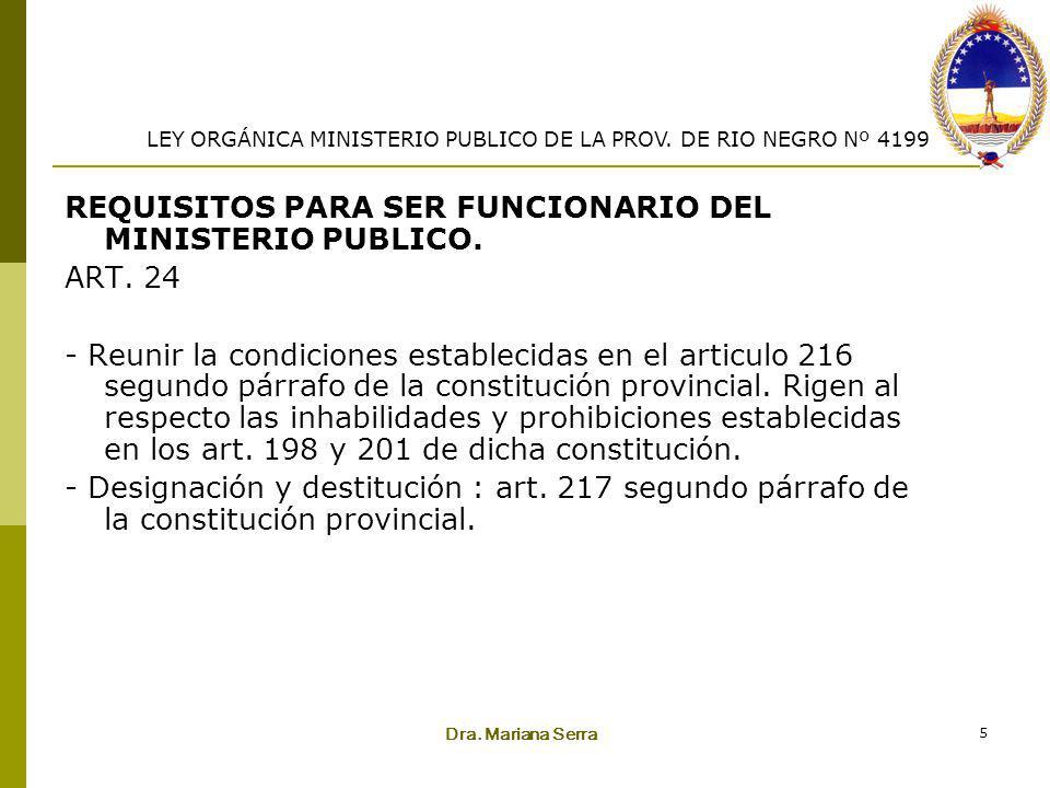 REQUISITOS PARA SER FUNCIONARIO DEL MINISTERIO PUBLICO. ART. 24