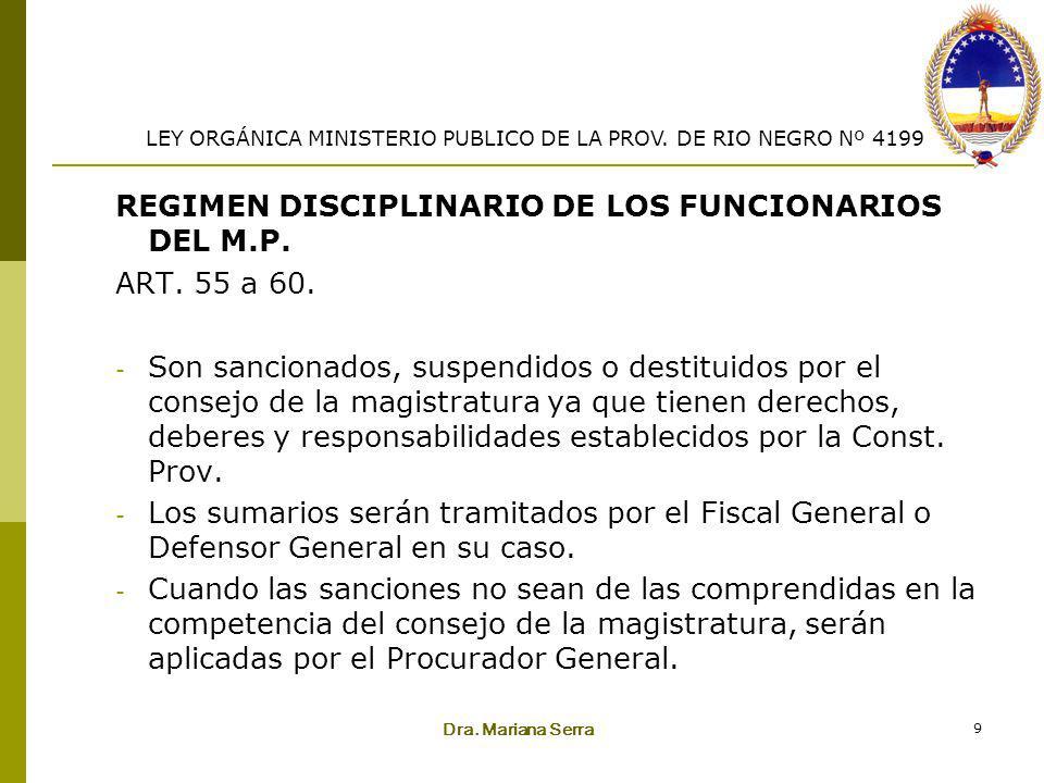 REGIMEN DISCIPLINARIO DE LOS FUNCIONARIOS DEL M.P. ART. 55 a 60.