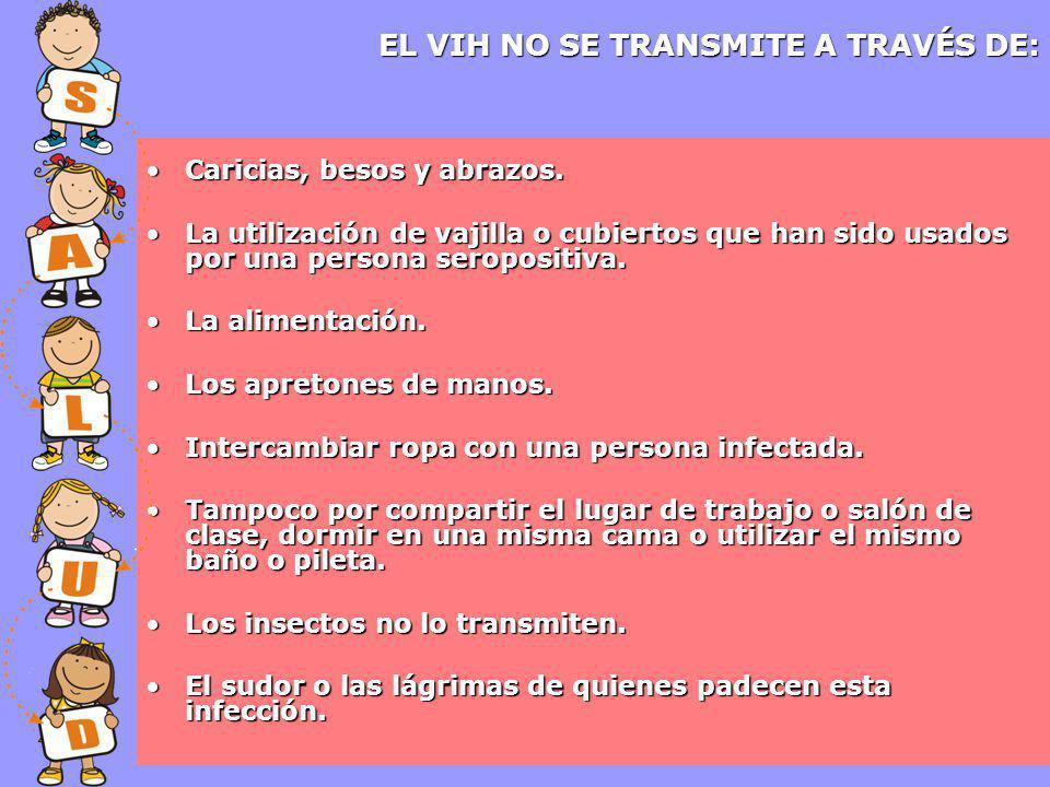EL VIH NO SE TRANSMITE A TRAVÉS DE: