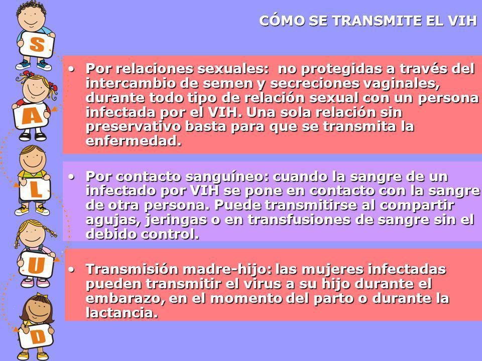 CÓMO SE TRANSMITE EL VIH