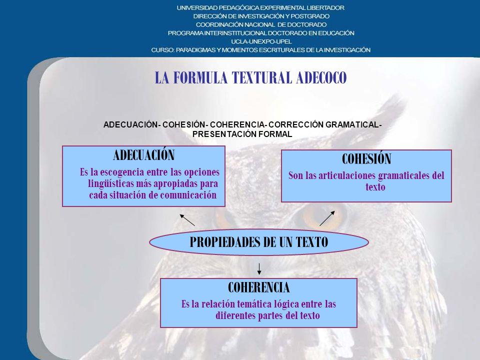 LA FORMULA TEXTURAL ADECOCO