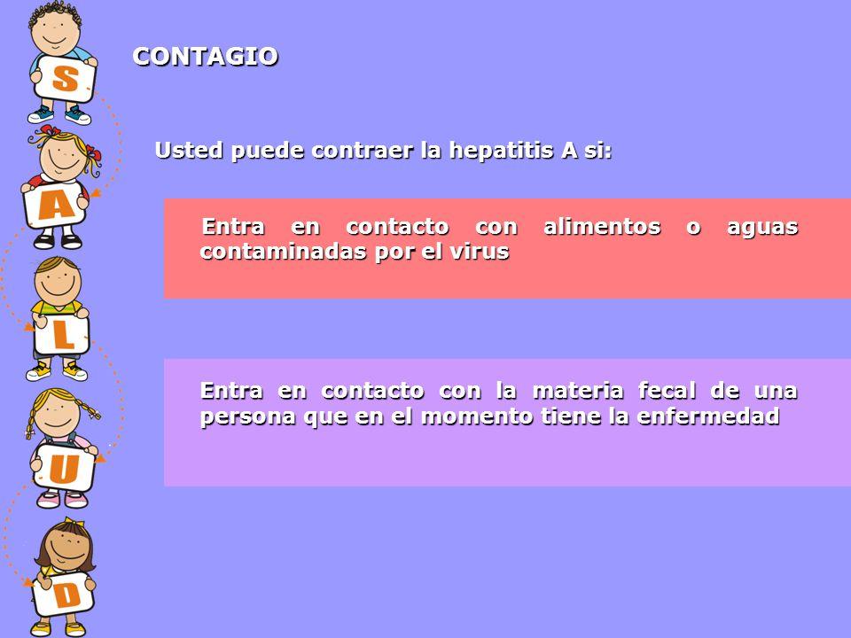 CONTAGIO Usted puede contraer la hepatitis A si: