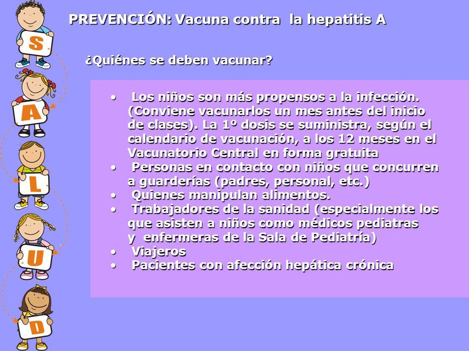 PREVENCIÓN: Vacuna contra la hepatitis A