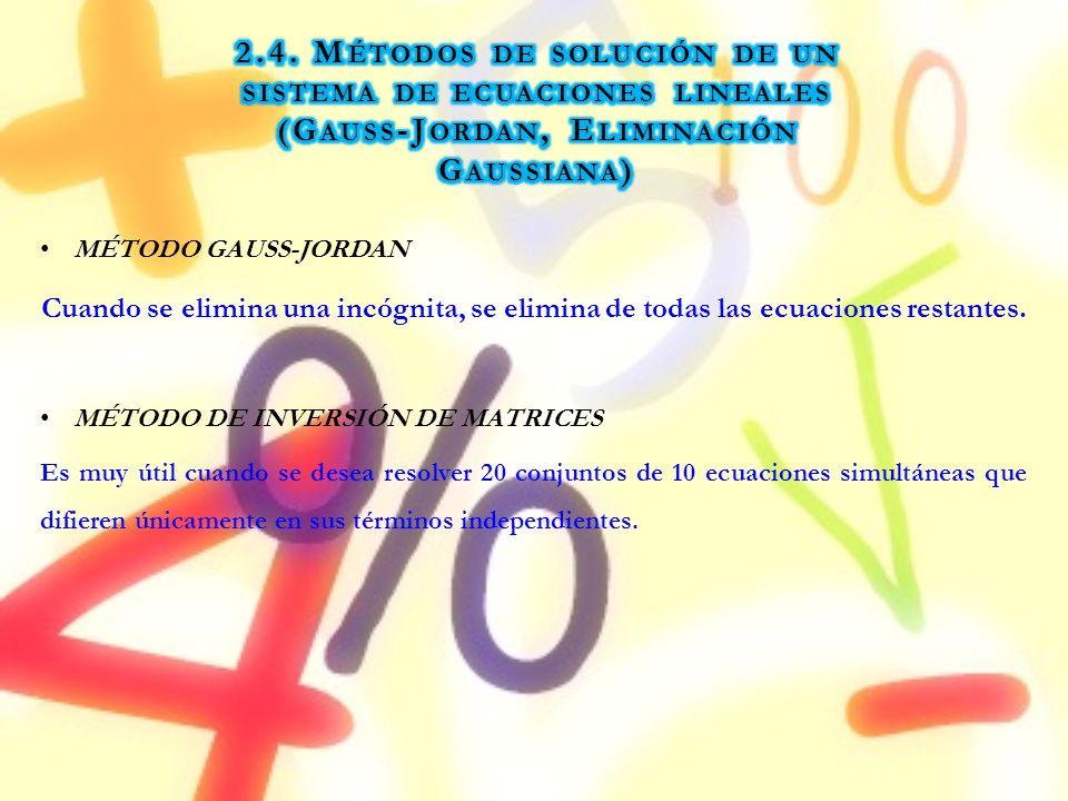 2.4. Métodos de solución de un sistema de ecuaciones lineales (Gauss-Jordan, Eliminación Gaussiana)