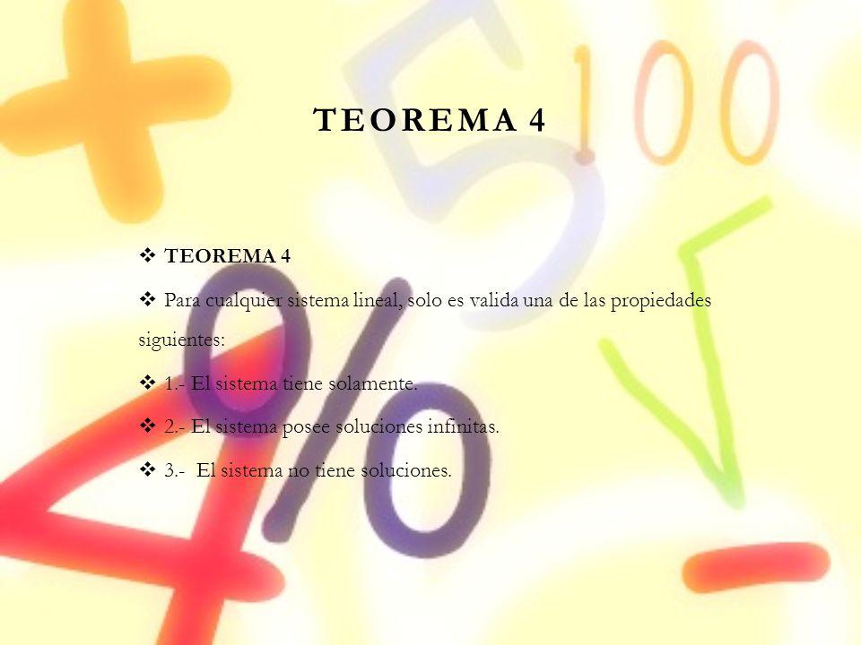 TEOREMA 4 TEOREMA 4. Para cualquier sistema lineal, solo es valida una de las propiedades siguientes: