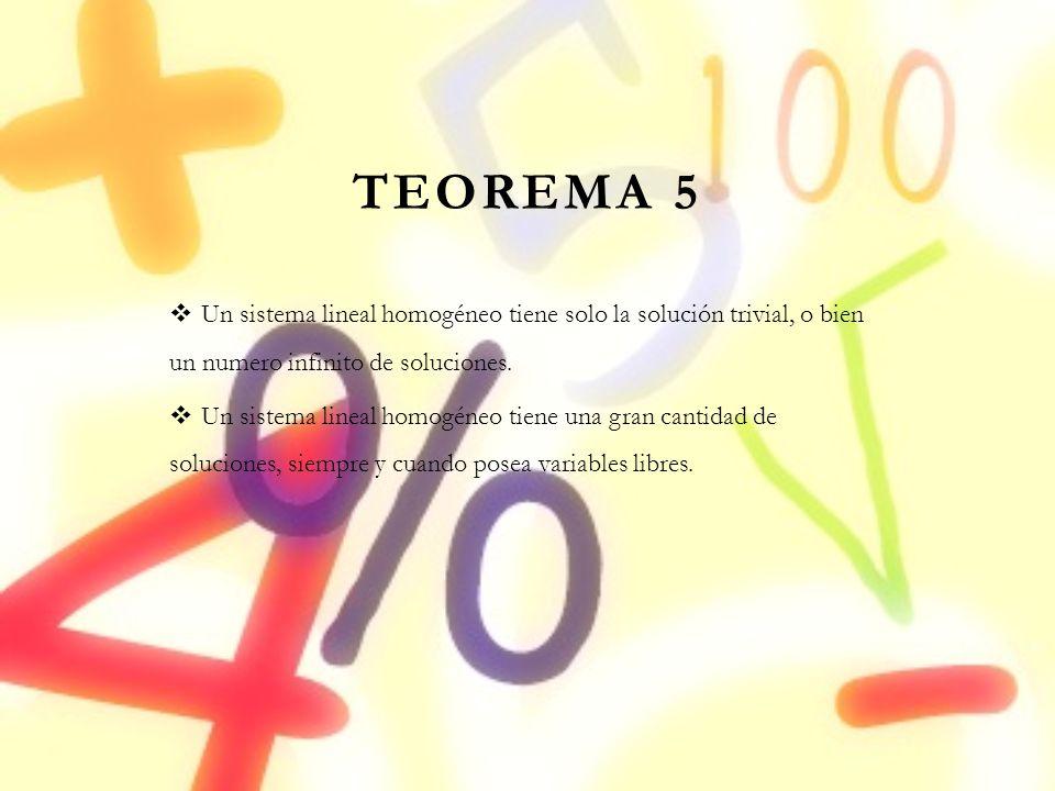 TEOREMA 5 Un sistema lineal homogéneo tiene solo la solución trivial, o bien un numero infinito de soluciones.
