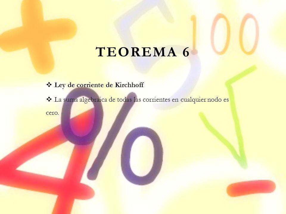 TEOREMA 6 Ley de corriente de Kirchhoff
