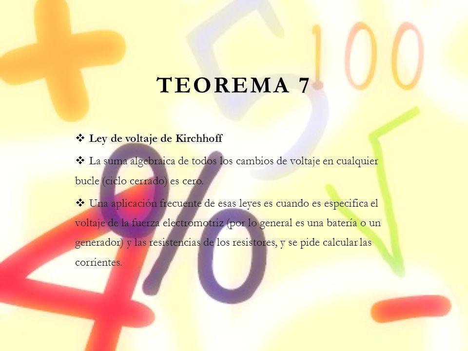 TEOREMA 7 Ley de voltaje de Kirchhoff