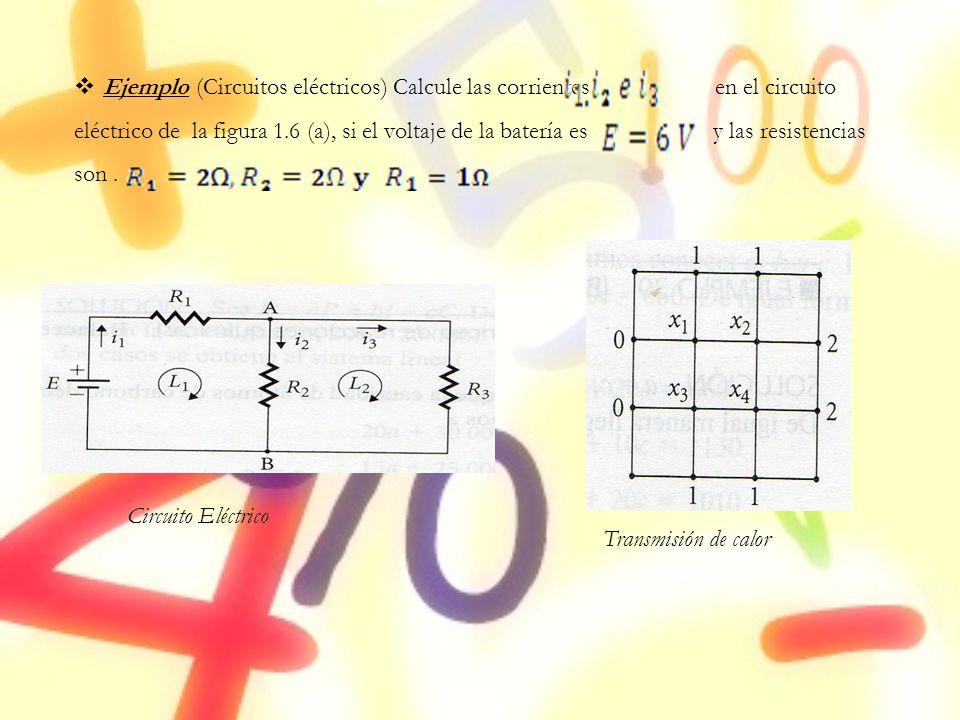 Ejemplo (Circuitos eléctricos) Calcule las corrientes en el circuito eléctrico de la figura 1.6 (a), si el voltaje de la batería es y las resistencias son .