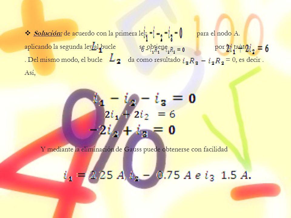 Solución: de acuerdo con la primera ley, para el nodo A