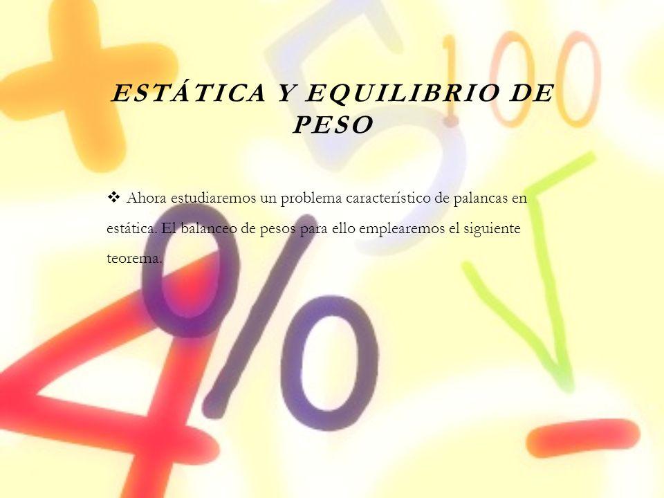 ESTÁTICA Y EQUILIBRIO DE PESO