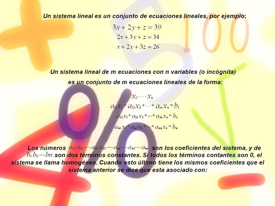 Un sistema lineal es un conjunto de ecuaciones lineales, por ejemplo: