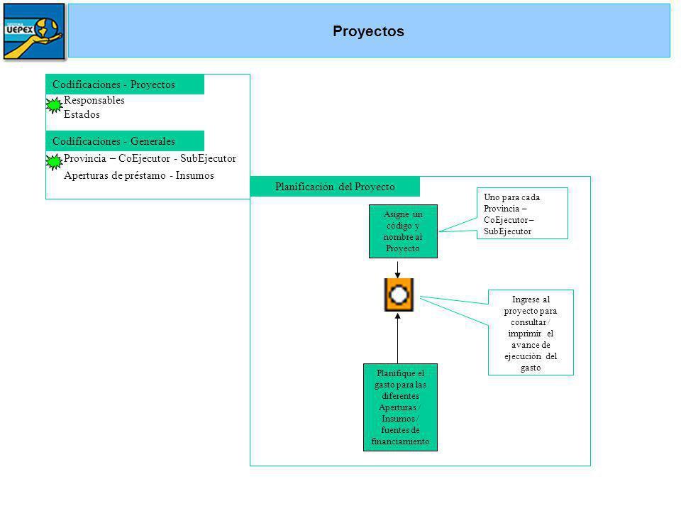 Proyectos Codificaciones - Proyectos Responsables Estados