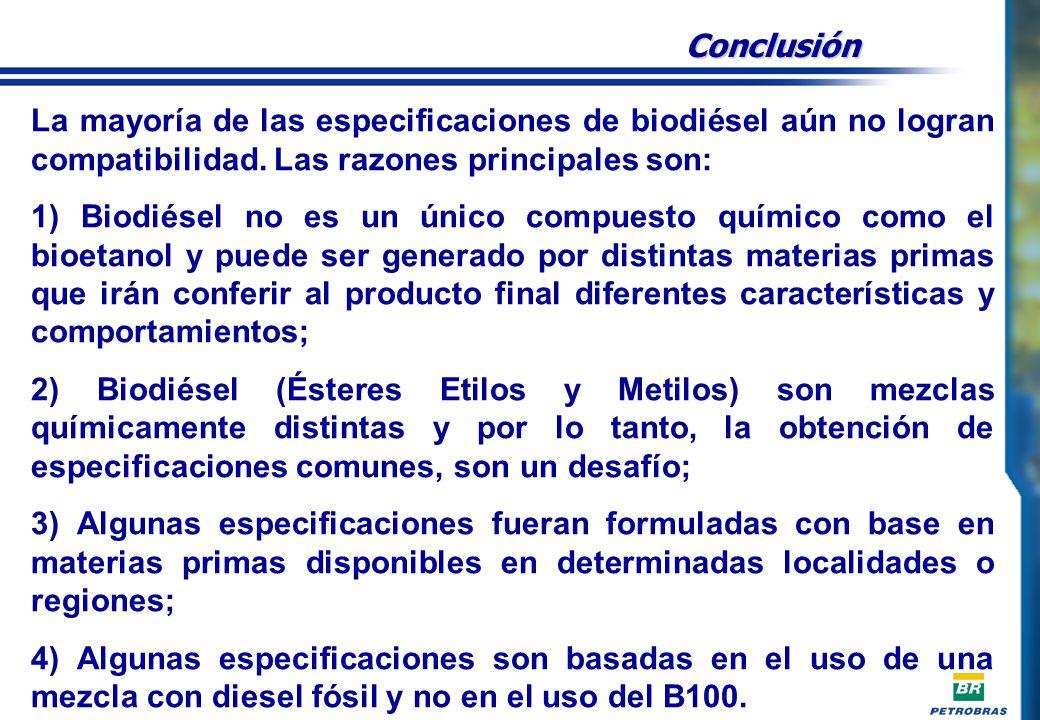 Conclusión La mayoría de las especificaciones de biodiésel aún no logran compatibilidad. Las razones principales son: