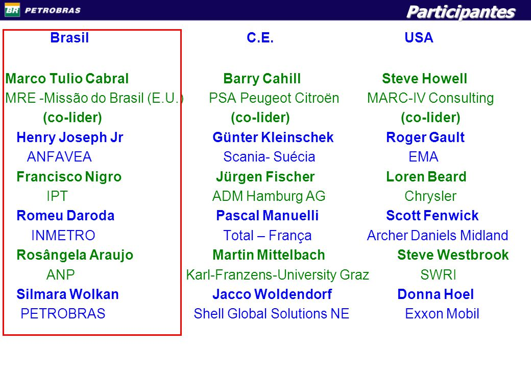 MEMBERS Brasil C.E. USA Participantes