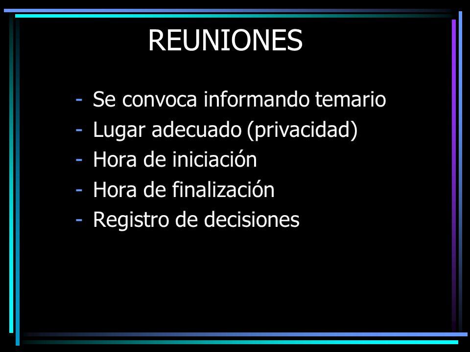 REUNIONES Se convoca informando temario Lugar adecuado (privacidad)