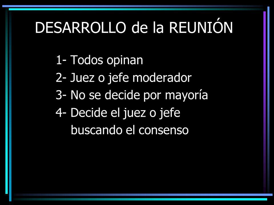 DESARROLLO de la REUNIÓN