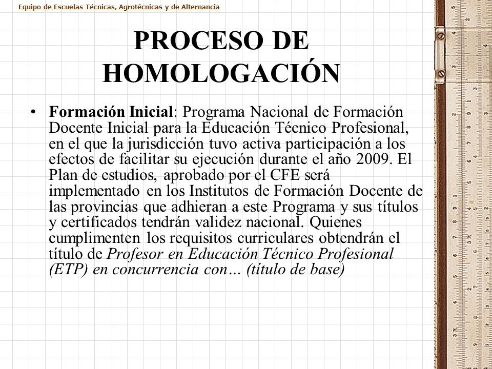 PROCESO DE HOMOLOGACIÓN