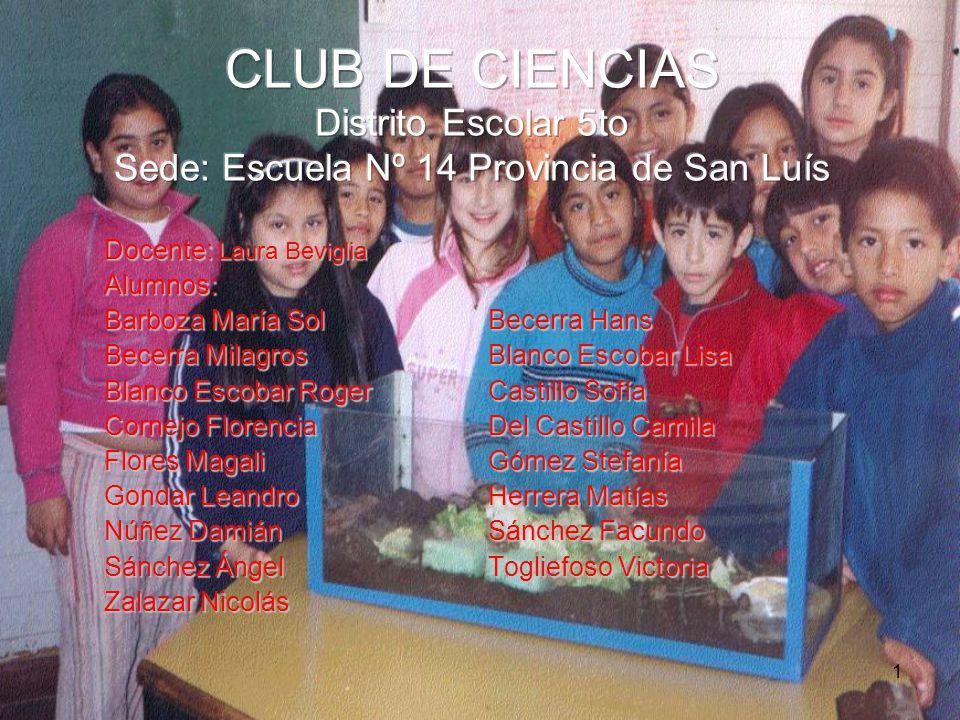 CLUB DE CIENCIAS Distrito Escolar 5to Sede: Escuela Nº 14 Provincia de San Luís