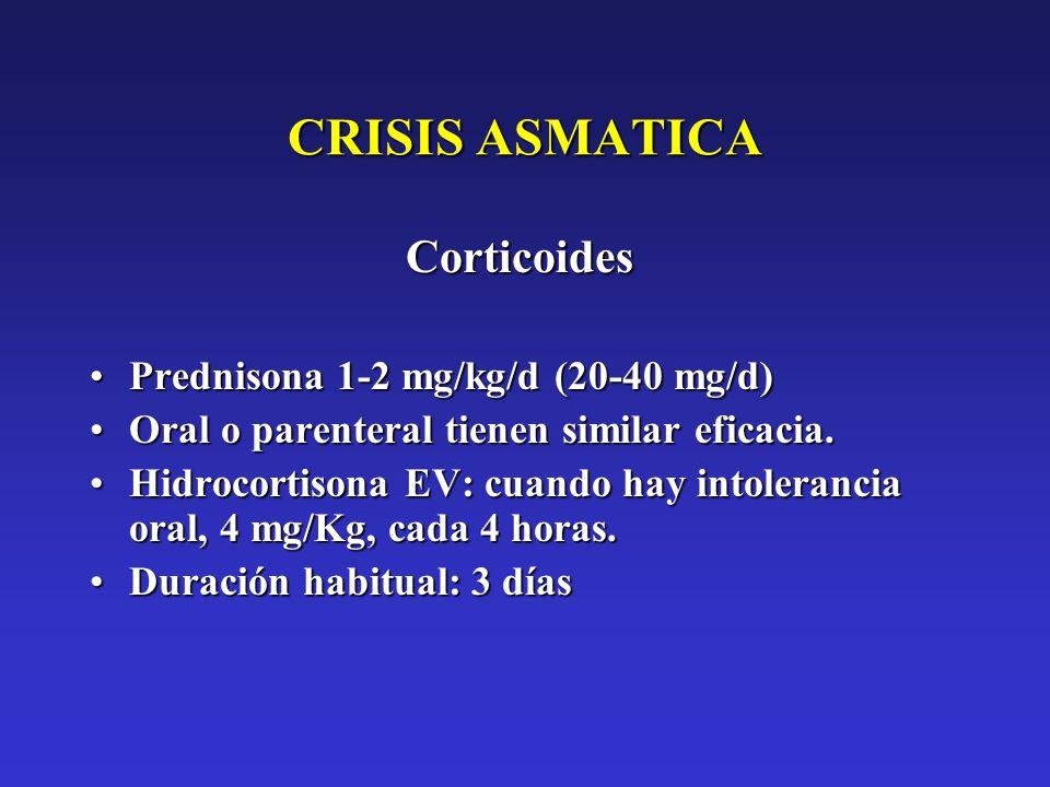 CRISIS ASMATICA Corticoides Prednisona 1-2 mg/kg/d (20-40 mg/d)