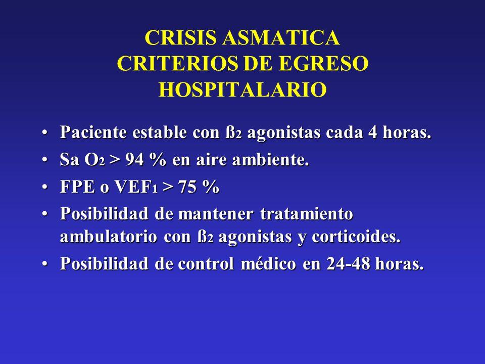 CRISIS ASMATICA CRITERIOS DE EGRESO HOSPITALARIO