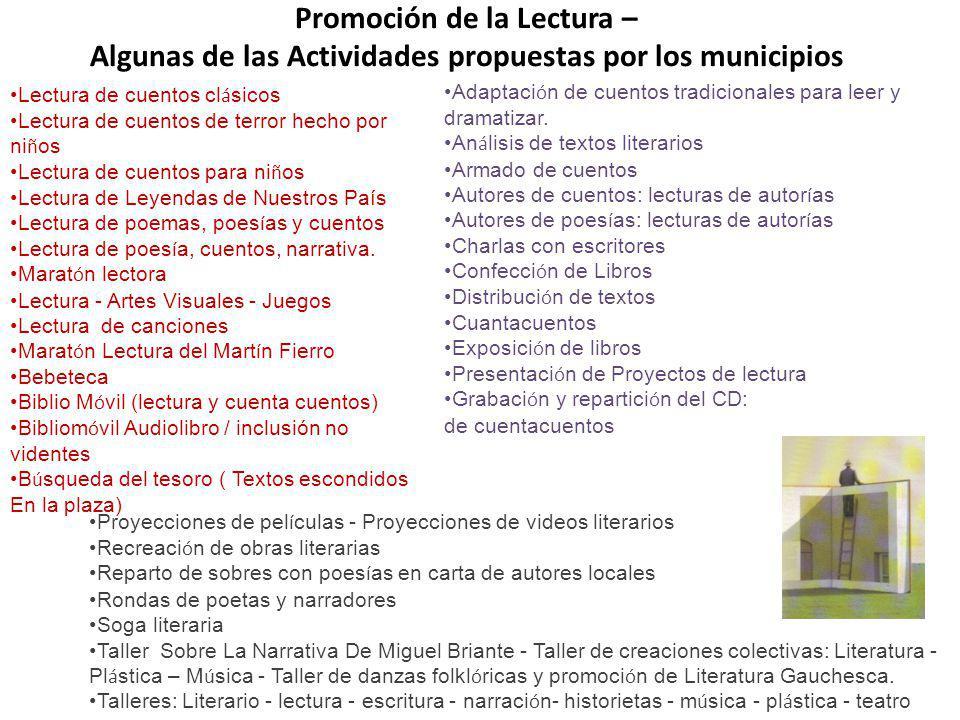 Promoción de la Lectura – Algunas de las Actividades propuestas por los municipios