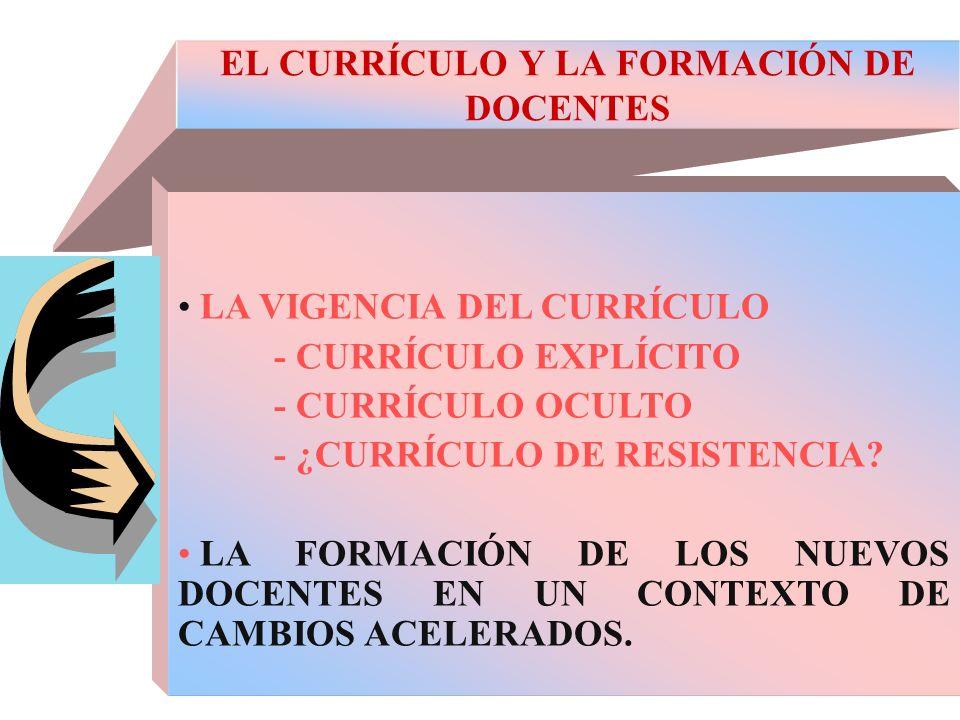 EL CURRÍCULO Y LA FORMACIÓN DE DOCENTES