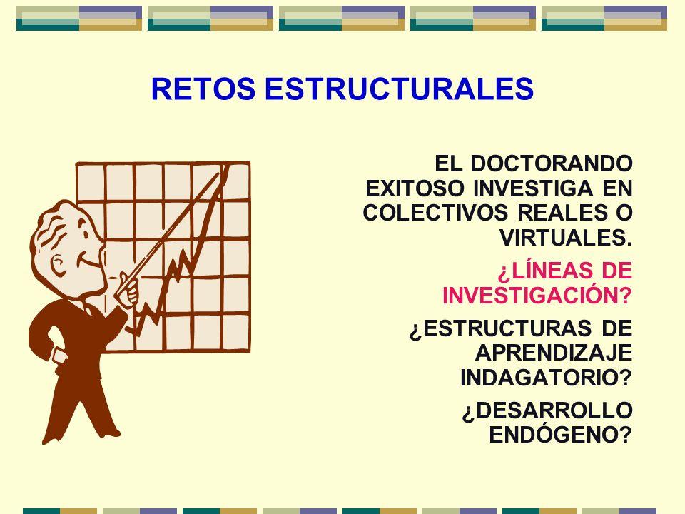 RETOS ESTRUCTURALES EL DOCTORANDO EXITOSO INVESTIGA EN COLECTIVOS REALES O VIRTUALES. ¿LÍNEAS DE INVESTIGACIÓN